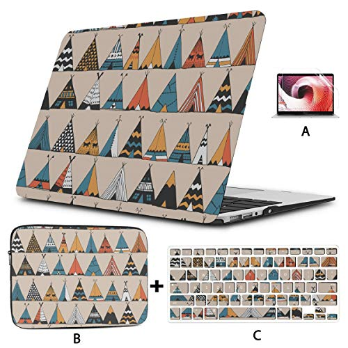 MacBook 15 Cover Teepee Native American Summer MacBook Air Laptop Cover Hard Shell Mac Air 11'/13' Pro 13'/15'/16' with Notebook Sleeve Bag for MacBook 2008-2020 Version