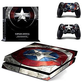 MightyStickers PS4 Console Designer Protective Vinyl Decal Covers for Sony PlayStation 4 and Controller Skins Stickers - Marvel Comics The Avengers 2 Movie Super Titan Heroes Age of Ultron Captain America Shield