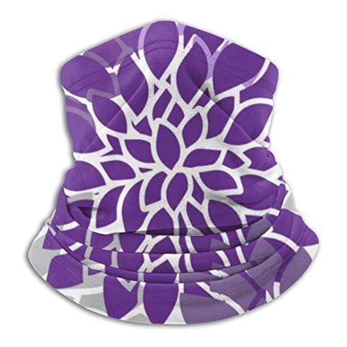 Hustor - Pasamontañas para el cuello, diseño floral, color morado y gris
