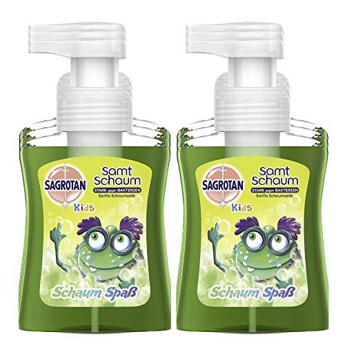 Sagrotan Kids Samt-Schaumseife Aloe Vera – Antibakterielle Schaumseife mit farbigem Schaum – 6 x 250 ml Seifenspender