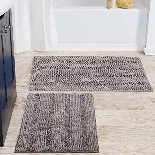 NICETOWN Extra Thick Chenille Striped Pattern Bath Rugs for Bathroom Non-Slip, Soft Plush Shaggy...