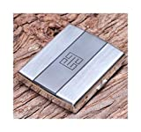WFAANW Caja de cigarrillos, 20 cigarrillos, cigarrillos caso portátil, creativo anti-presión ultra-delgado del hierro del metal caso de cigarrillos, regalo genuino, Plata 9.4 * 7.8 * 1.8cm, acceso lib