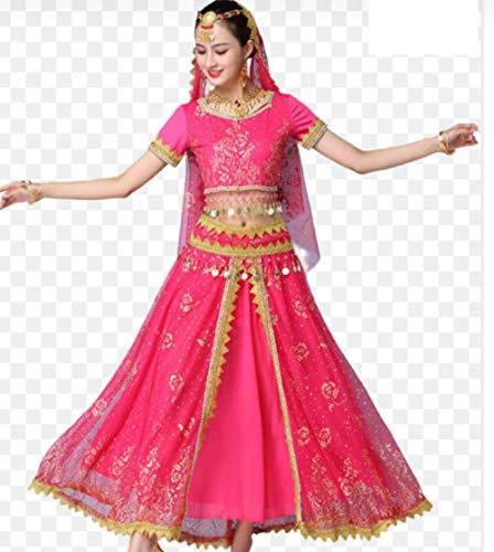 ZYLL Indische Bollywood-Dame-Bauchtanz-Kleidung Frauen-Set Kleider Bauchtanz-Smoking Red Indian Bollywood Tänzer Tanz Kostüme Frauen Erwachsene,Rosa
