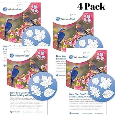 WindowAlert Leaf Medley Decals | Window Clings Protect Wild Birds | Bird Deterrent UV Reflective Window Stickers | 4 Pack