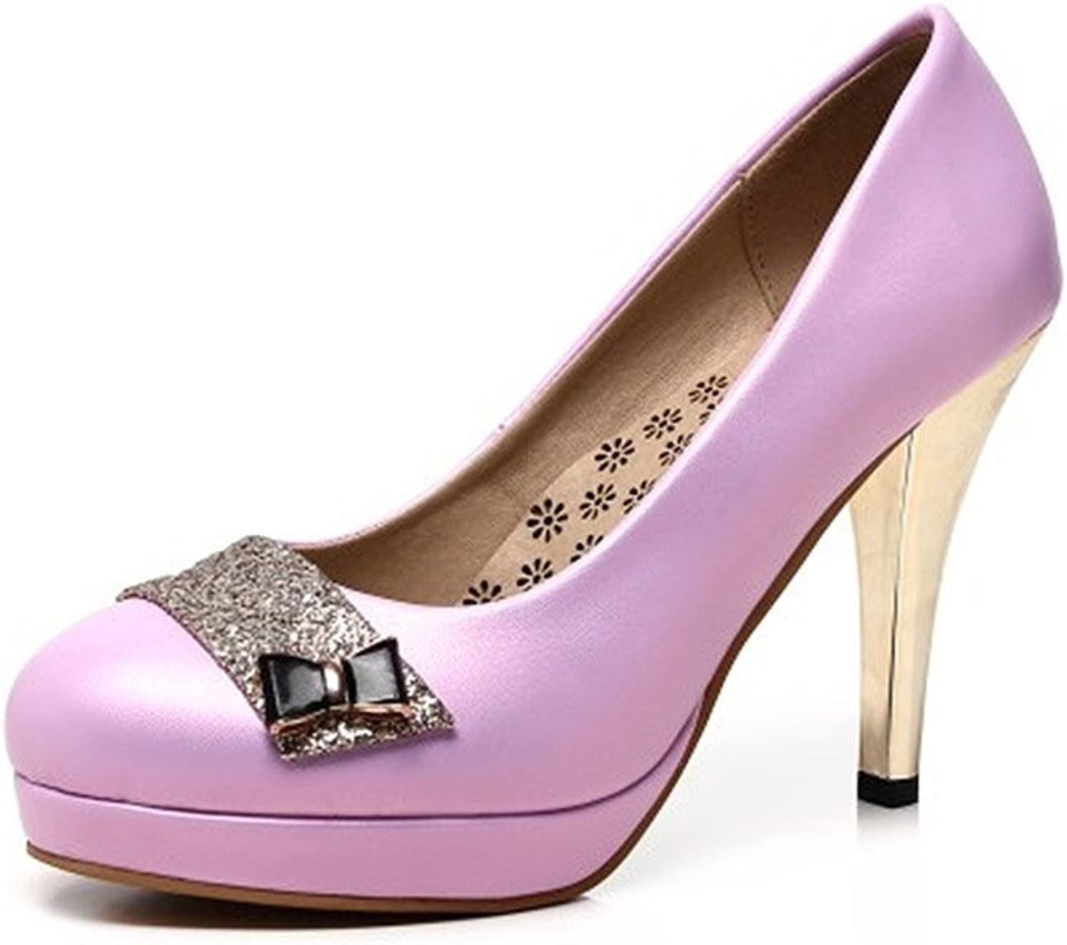 XUERUI Sexy Sequin Round Shallow Slim with High-Heeled Comfortable Thick-Soled Ladies shoes (Size   EU36 UK3.5 CN35)