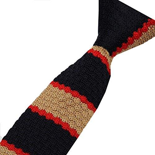 S.R HOME Cravate mince pour homme Rayure Noire Beige bout carré de 6cm