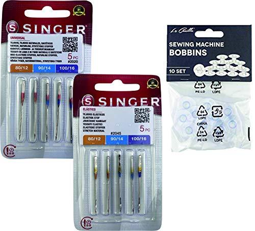 Singer Pack de 2 Paquetes de Agujas Universales para coser Algodón y Tejidos de punto, elásticos y lycra 2020, y 2045 Sistema 130/705 H (Plano de un Lado) HAx1 y H-S + Canillas de Plástico