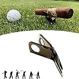 Playstala Titular del cigarro y la Herramienta Divot Divot, Herramienta Divot Golf con Ball Marker Cigar Bigne, Herramienta de reparación de Divot Golf y Ballmarke, Regalo para Golfistas,Negro