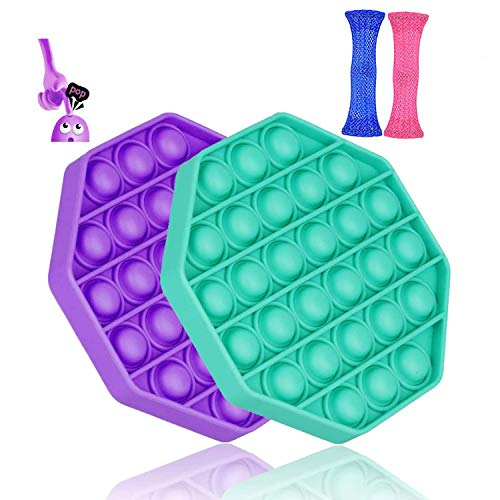 2Pcs-Sensory-Fidget-Toy-Bubble-Popper-Fidget-Toy-Students-Anxiety-Relief-Autism-Toy-Kids-Popping-Fidget-for-ADD-ADHD-Silicone-Figetget-Toy-Novelty-Gift-for-Adults-PurpleGreen-Polygon