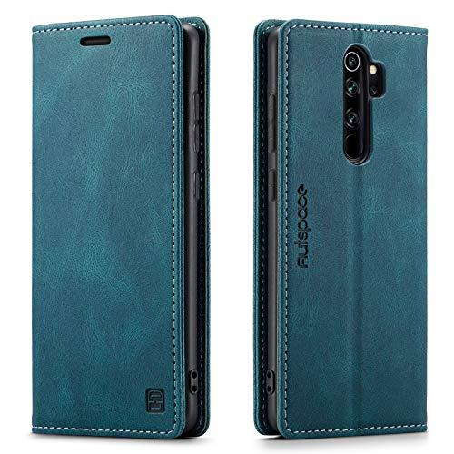 GoodcAcy - Custodia a libro per Xiaomi Redmi Note 8 Pro, in pelle, stile vintage, con protezione RFID, chiusura magnetica, in pelle, per Xiaomi Redmi Note 8 Pro, colore: Blu/Verde