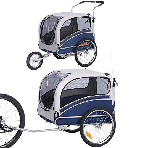 2 in 1 großer Kinderwagen zum Joggen / Fahrradanhänger, multifunktionaler Kinderwagen 20303L (Blau)