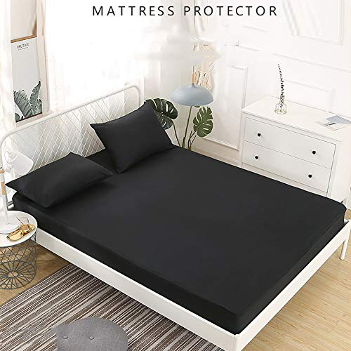 IUYJVR Mattress Topper Mattress Protector 100% Waterproof,Breathable Noiseless Mattress Pad Cover Hypoallergenic And Dust Proof Fitted Up To 12' deep Black 200x200cm(79x79inch)