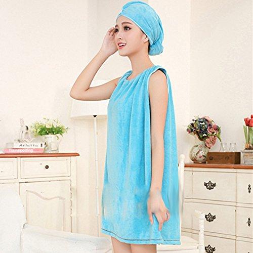 Bluelover Bx-R972 Absorbe Bain Confortable Microfibre Femmes Jupe Bain Serviette Peignoir avec Bouchon De Bain - Bleu