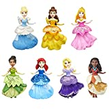 Disney Princess -- Royal Clips-Multipack with 7 Small Dolls Collection Fashion Toy with Glittery 1-Clip Dresses, Frustration Free Packaging
