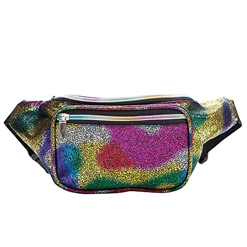 Neon Holographic Fanny Packs for Women - Metallic Waist Packs with Adjustable Belt for Men, Waterproof Waist Bags for Running Hiking Travel Cycling