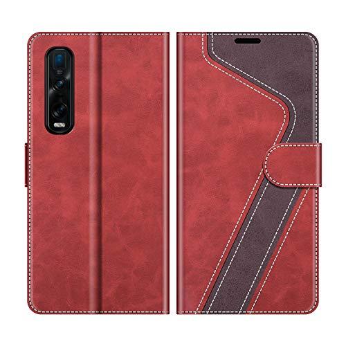 MOBESV Handyhülle für Oppo Find X2 Pro Hülle Leder, Oppo Find X2 Pro Klapphülle Handytasche Hülle für Oppo Find X2 Pro Handy Hüllen, Modisch Rot