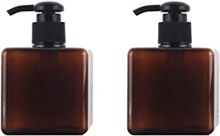 2PCS 250ml/8.4oz Empty Refillable Plastic Square Bottle Cosmetic Packaging Bottle with Spray Pump For Liquid Lotion Soap Hand Washer Cosmetic Makeup Shampoo Dispenser(Brown)