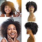 Brazilian Human Hair Short Curly Afro Wig 8 Inch Machine Made Glueless Virgin Hair Kinky Curly Short Bob Curly Human Hair Afro Wigs for Black Women Human Hair No Lace Front Wig with Bang Natural Color