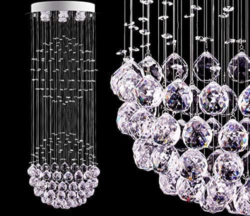 LED Modern Fandelier White Chandelier K9 Crystal Ball Chandeliers Cylinder Flush Mount Ceiling product image