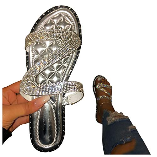 HIRIRI Women's Slippers Glitter Crystal Sandals Roman Style Flat Slip On Shoes Party Casual Ladies Flip Flop