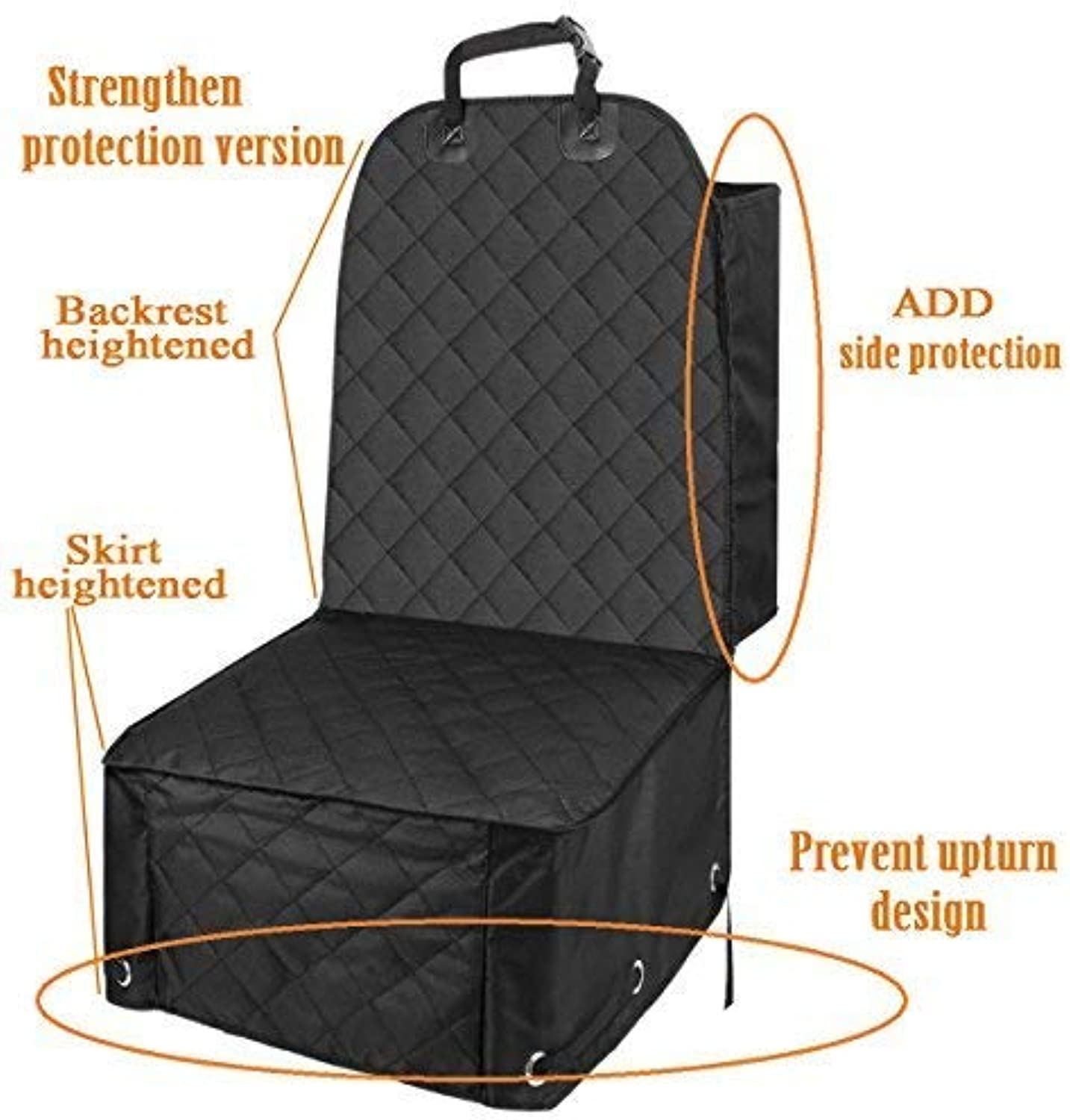 ALFHEIM Dog Bucket Seat Cover  Nonslip Rubber Backing with Anchors for Secure Fit  Universal Design for All Cars, Trucks & SUVs (Black) (Front Seat Cover Pro)