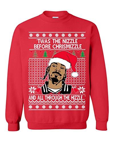 UglyChristmasSweater Snoop Twas The Nizzle Before Chrismizzle Unisex Sweatshirt Red