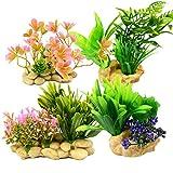 Mioke Plantas Artificiales de Acuario Decoraciones,4pack Plantas Plásticas para Acuario