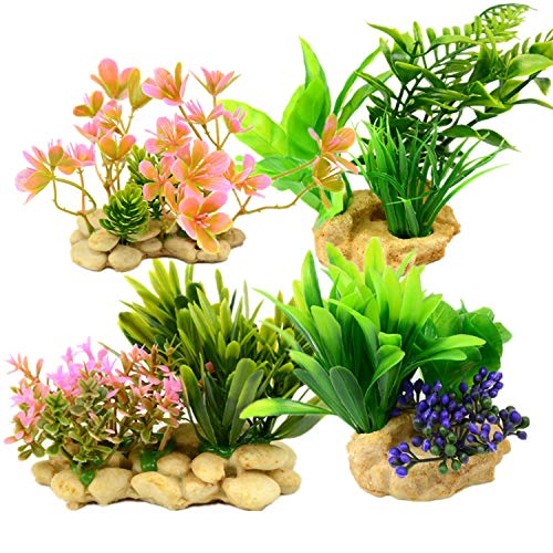 Mioke Aquarium Kunstplanten Vistank Kunststof Planten 4PACK Vistank Decoraties, Aquarium Kunstplanten Aquarium Decoratie