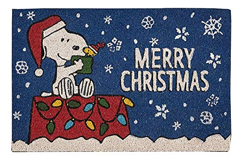 Nourison Peanuts Snoopy and Woodstock Merry Christmas Fall Entryway Coir Doormat, 18-Inch x 28-Inch