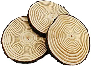 Large Unfinished Natural Wood Slices 7 - 8 inch 3 Pieces Wood Circles with Tree Bark for Table Centerpieces ,Crafts for DIY, Christmas Ornaments, Wedding Home Decor