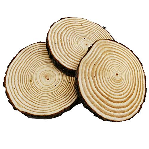 Large Unfinished Natural Wood Slabs Slices, 7 - 8 inch 3 Pieces Wood Circles with Tree Bark for Table Centerpieces ,Crafts for DIY, Christmas Ornaments, Wedding Home Decor