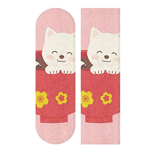 MNSRUU Cat In The Bowl Skateboard Griptape Blatt Scooter Deck Sandpapier 22,9 x 83,8 cm