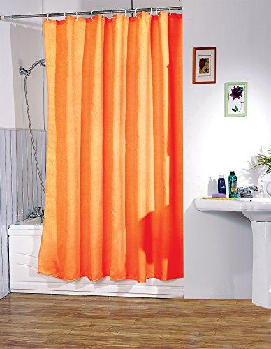 """MSV Anti-Schimmel Duschvorhang - Anti-Bakteriell, waschbar, wasserdicht, mit 12 Duschvorhangringen - Polyester, """"Orange"""" 180x200cm"""