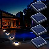 Solar Deck Lights, Driveway Walkway Dock Light Solar Powered Outdoor Stair Step Pathway LED Lamp for...