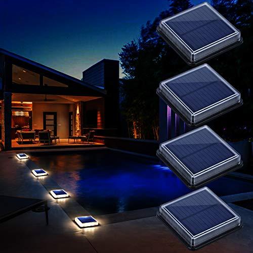 Luces Solares Jardin, Lámpara Solar Exterior IP68 Impermeable Auto ON/OFF Luz Solar del Piso para Step Garaje Camino Patio Deck Entrada Vía Calle Valla - Blanco Cálido - Cuadrado - 4 Pack