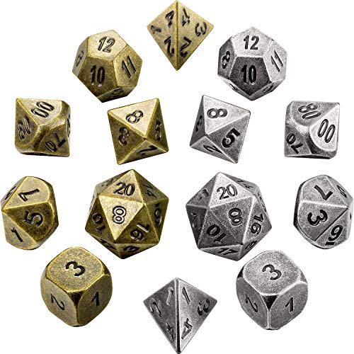 Jovitec 14 Pieces Metal Solid Zinc Alloy Game D&D Dices Set Durable Polyhedral Dice with Printed Numbers and Velvet Storage Bags for Game, Dungeons and Dragons, RPG, Math Teaching (B)