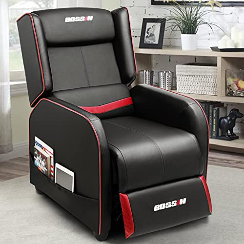 BOSSIN Gaming Recliner Chair Single Recliner Sofa PU Leather Recliner Seating Sofa Ergonomic Lounge Recliner Chair Home Movie Theater Seating Sofa for Living Room(Red)