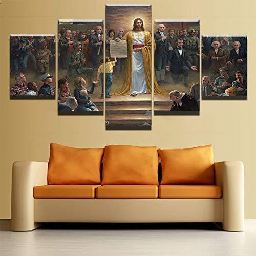 Cuadros de lienzo Marco de arte de pared para sala de estar 5 piezas Jesucristo regresa a la tierra Pinturas cristianas Impresiones Carteles clásicos
