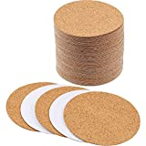 Hotop Self-adhesive Cork Coasters Squares Cork Mats Cork Backing Sheets for Coasters and DIY Crafts Supplies (60, Round)