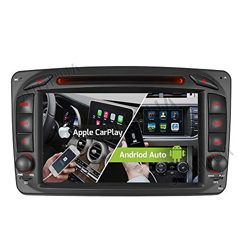 "Android 10 Carplay+Android Auto 2G+32GB Rohm-DSP Bluetooth 5.0 Dual-Tuner Autoradio 7"" DVD GPS Navigation für Mercedes Benz C/CLK KLASSE W203 W209 C209 W209 W463 DAB+ WiFi 4G+ USB AV-Out"