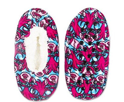 Girls Trolls Poppy Fuzzy Babba Slipper Socks Slippers (M/L)