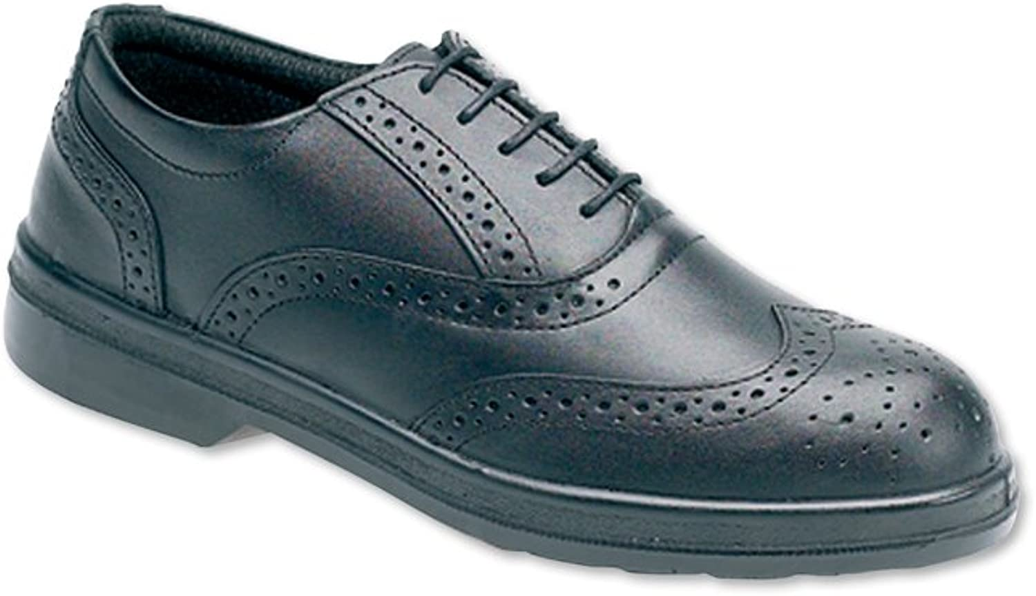 Alexandra STC-FW129BK-9 Men's Safety Brogues, Plain, Dual-Density Polyurethane, Size  9, Black
