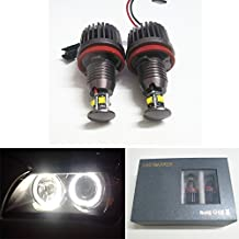 GFJMC 40W H8 CREE LED Angel Eye 360-Degree Halo Bulb Light Lamp 6000K Xenon White For BMW E60 E61 E90 E92 E70 E71 E82 E89 M6 1 3 5 Series X5 X6 Z4 (H8-40W)