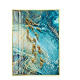 Mulmf Pintura abstracta en lienzo de peces dorados, mármol nórdico, decoración japonesa, póster dorado, arte de pared para sala de estar, pinturas modernas, 50x70 cm sin marco
