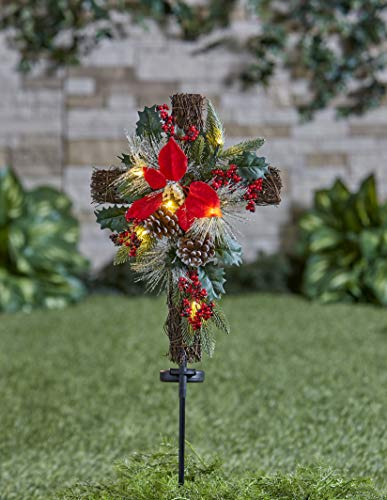 The Lakeside Collection Solar Lighted Christmas Cross Stake with Faux Pine Cones, Foliage