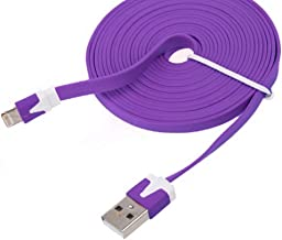 NTJ Flat Noodle USB Data Sync Charging Cable FOR Apple, iOS 8+, for iPhone 5, 5s, 5c, 6, 6 plus, iPad 3, iPad air, 2 ,Mini 2 3,Nano 7 ,Touch 5 (3,6,10ft lengths & 10 Colors) (Purple (10FT))