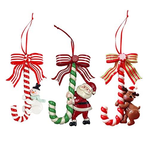 Angoily 3Pcs Di Natale Appeso Canna di Caramella di Menta Piperita Lollipop Ornamento di Babbo Natale Pupazzo di Neve Alce Falso Caramelle Albero Di Natale Del Pendente per La Casa di