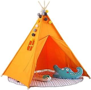 MUMA tipi-tält för barn vikbar barnlekstält för flickor och pojkar lekstugleksak för inomhus- och utomhuslekar (färg: Orange)