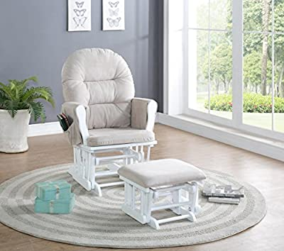 Naomi Home Brisbane Glider and Ottoman Set White/Cream