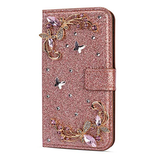 Amocase Glitter Case with 2 in 1 Stylus for Samsung Galaxy S10 Plus,Luxury Diamond 3D Crystal Butterfly Flower Magnetic Wallet Leather Stand Case for Samsung Galaxy S10 Plus - Rose Gold